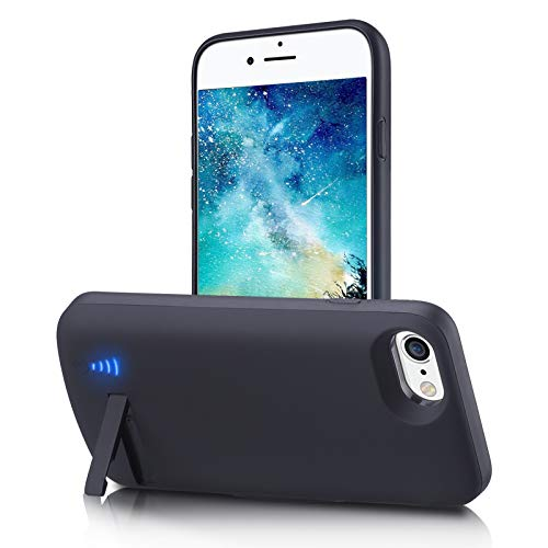 Battery Case for iPhone 7/8/6s/6/SE 2020, 6000mAh Portable Charging Case with Kickstand Rechargable Backup Charger Cover for Apple 8 Wired Headphone, Priority Charging Supported (4.7 inch)-Black