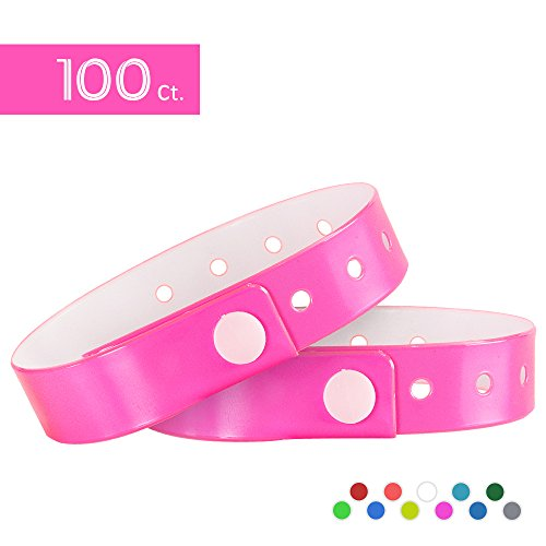 Pulseras para eventos de tres capas y resistente al agua, 100 unidades, de la marca Ouchan, rosa neón