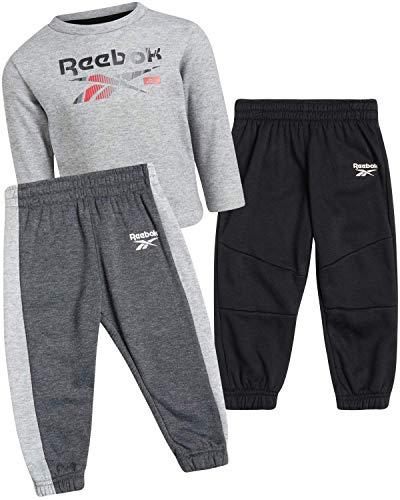 Reebok - Juego de sudadera y pantalón de deporte para bebé (3 piezas, forro polar, cuello redondo, para bebé) - gris - 4 años