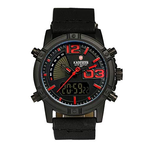 lancardo Reloj de Hombre Cuarzo con Pulsera de Piel Color Reloj de Pulsera, rectángulo Esfera Doble Tiempo Zona Resistente al Agua Punk Rock Hombres Reloj Despertador Negro Azul
