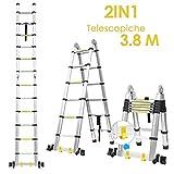 FIXKIT Scala Telescopica in Alluminio, Scala Retrattile 3.8M Scaletta Pieghevole, Scala 3 ...