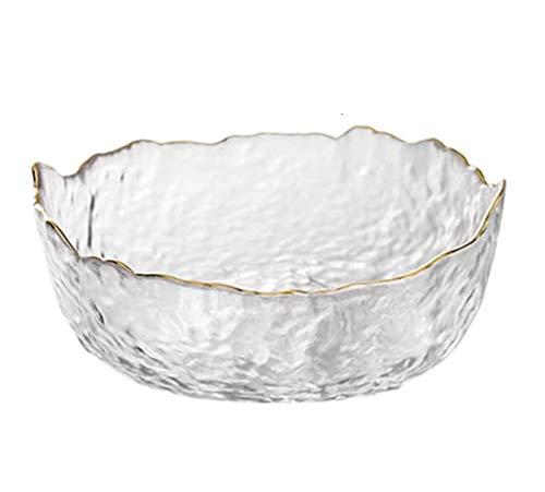 Flange Crystal Glass Mixing Bowl Transparent Salad Bowl, Fruit Plate Irregular Bowl Snack Bowls