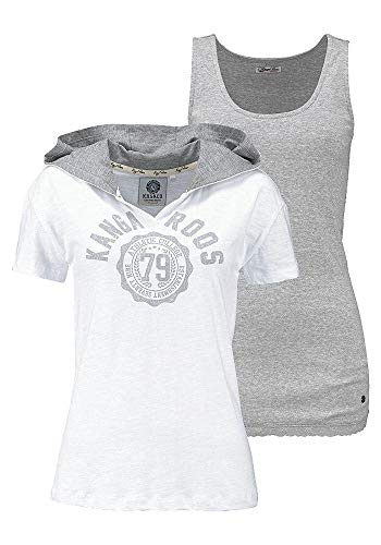 KangaROOS Damen T-Shirt mit Kapuze + Top (2tlg. Set) (weiß, 36/38)