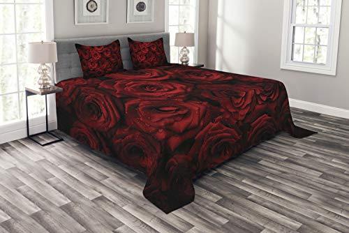 ABAKUHAUS Dunkelrot Tagesdecke Set, Tropfen von Blooming Bouquet, Set mit Kissenbezügen Waschbar, für Doppelbetten 264 x 220 cm, Rot Schwarz