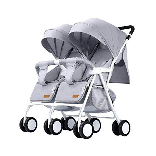 Lichtgewicht dubbele kinderwagen, die dubbele auto kan vouwen, ondersteunt draak en tweede kind van de Phönix grijs