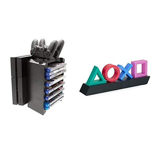 Venom Games Storage Tower & Twin Charger inkl. Ladegerät für 2 Dualshock 4 Controller & Aufbewahrungsmöglichkeit & Playstation Z890845 PP4140PS Tasten Symbol Lampe mit Farbwechsel Funktion,Mehrfarbig