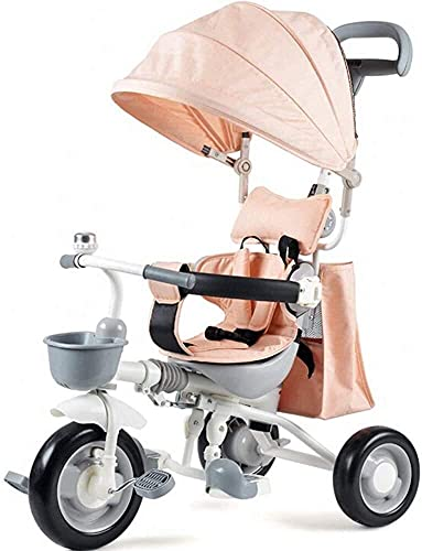 TANKKWEQ Foldable stroller Stroller Bicycle Adjustable Sliding knob, Suitable for Children 1-5 Years Old car Three, and with a Retractable Awning, Light