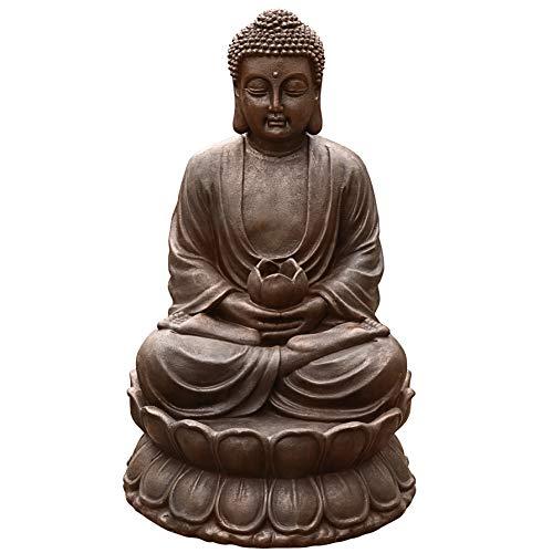 Dehner Gartenbrunnen Buddha mit LED Beleuchtung, ca. 80.5 x 49.5 x 49.5 cm, Polyresin, grau