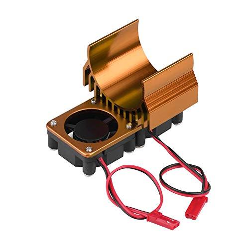 Tbest Disipador de Calor del Motor, 540/550 disipador térmico del Motor Ventilador de enfriamiento Doble Ventilador del Motor RC para 1/10 Escala Coche eléctrico RC(Oro)
