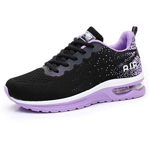 Dannto Women's Running Shoes Breathable Air Cushion Lightweight Sneakers for Walking Gym Sport Jogging Tennis Black and Purple Size 11