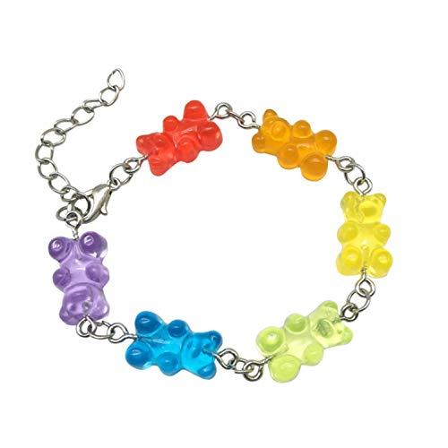 htrdjhrjy Würdig Süß Regenbogen Candy Farbe Gummi Bären Damen Mädchen Armreif Armband Modeschmuck - Mc