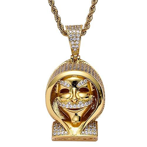 HYYSYQ Hombres Cabo Calavera Cobre Incrustado Zirconia CúBica Muerte Colgante Collar Punk Acero Inoxidable VíSpera De Todos Santos Amuleto Joyas,Oro,70cm(28in)