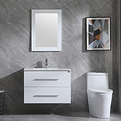 """WONLINE 32"""" Bathroom Vanity Set Wall Mounted White Cabinet with Sink Combo Chrome Faucet"""