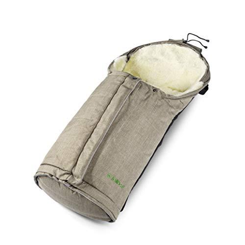 Fellhof 1087 Lammfell Fußsack Sölden, größenverstellbar, bei 30 °C waschbar, OEKO-TEX® Standard 100 zertifiziert, mit patentiertem Magnetverschluss, Rückenteil abzippbar, 40/45x82/94cm (beige-melange)