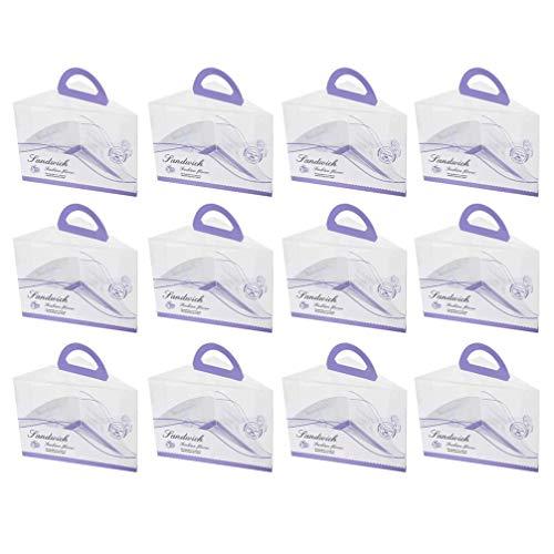 Hemoton 12 Unidades de Cajas Portátiles para Tartas con Ventana Transparente Y Mango de Plástico para Cupcakes Cajas Triangulares para Panadería Cajas de Dulces para Bodas Fiestas de