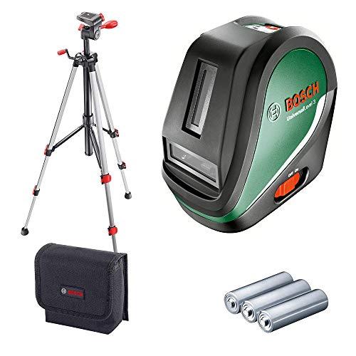 Bosch Kreuzlinienlaser UniversalLevel 3 Set (3x AA Batterien, Softbag, Arbeitsbereich: 10 m, Selbstnivellierungszeit: >4 s, Betriebsdauer: 5 h)