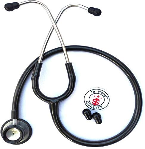 Dr. Head Care Plus Premium Quality Dual Head Stethoscope for doctors, Medical Students, Physicians, Cardiology and Nurse (Black),...