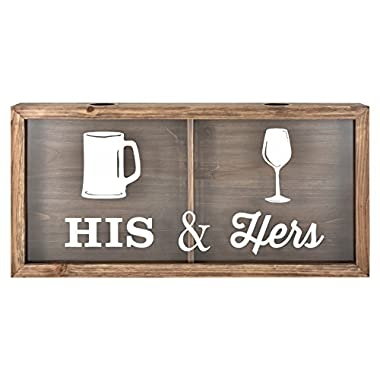 MCS Bar None His & Hers Wine Cork & Beer Cap Wall Art, 20 X10 , Brown