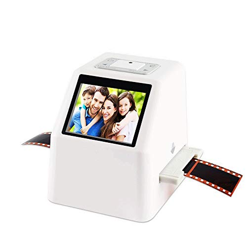 QCHEA Protable Negative Film Scanner, 22 MP 110 135 126KPK Super 8 Negative Photo Scanner for Diapositive 35 mm Film Scanner Digital Film Converter ad Alta risoluzione 22MP 2.4' LCD (Bianco)