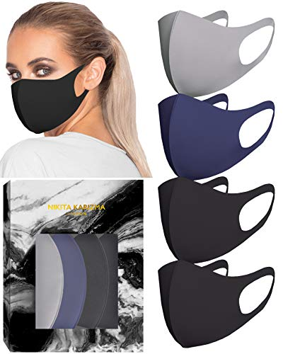 KARIZMA Styling Essentials Cloth Face Mask. 4 Buttery Soft Masks Washable Fabric. (Twilight) Navy, Grey and 2x Black Face Mask Reusable. Fabric Face Mask 4 Pieces
