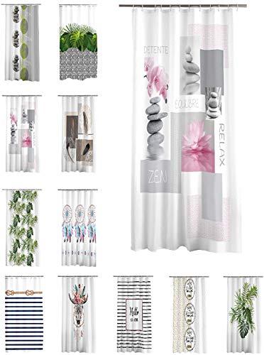one-home Duschvorhang 180x200 cm wasserabweisend Badewannen Vorhang inklusive 12 Ringe, Farbe:Relax Zen rosa