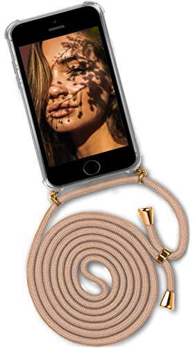 ONEFLOW® Handykette + Hülle passend für iPhone 5S / 5 / SE (2016)   Stylische Kordel Kette - Kristallklare Handyhülle mit Band zum Umhängen in Gold Beige