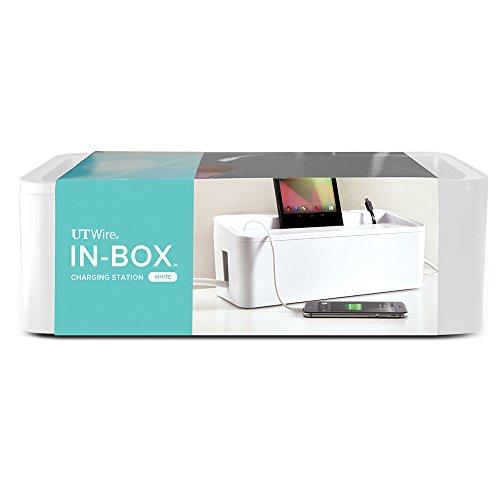 UT Wire In-Box Desktop Mobile Charging Station & Power Strip Organizing Box, White