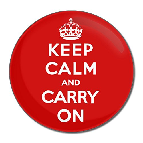 Red Keep Calm and Carry On - Miroir compact rond de 55 mm