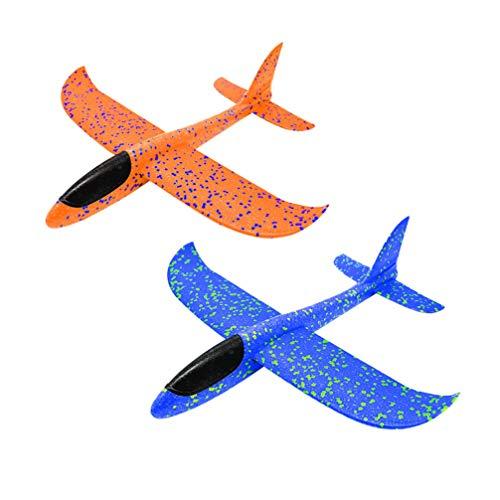 STOBOK 2pcs Schaumstoff Flugzeug Styropor Flugzeug Werfen Flieger 48cm Kinder Flugzeug Spielzeug Modell Teenager Mädchen Jungen Outdoor Im Freien Garten Sport Werfen Spiel