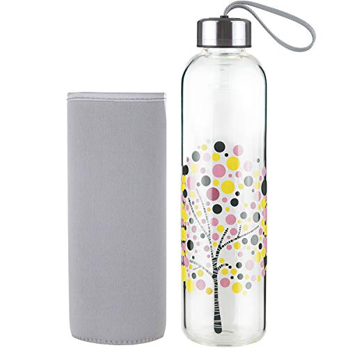 DEARRAY Sport Glas Trinkflasche 500ml / 1000ml / 1 Liter, Borosilikatglas Wasserflasche mit Neoprenhülle und Stilvollem Edelstahldeckel (Blasenbaum, 500ml)
