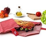 Roll'Eat – BOC'n'Roll Nature – Porta Panino e Sandwich Ecologico, Riutilizzabile e Convertibile in Tovaglia | Porta Snack Merenda Morbido, Impermeabile, Antimacchia, Lavabile. Colore Rosso. Senza BPA