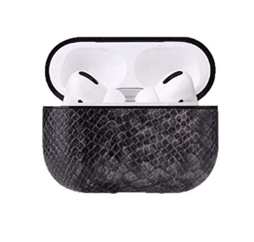 Luxury Snake Leather Feel Protective Case for AirPods Pro with Carry Clip and Charging Ports, Compatible with Apple AirPods Pro (Grey)
