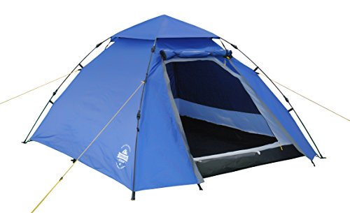 Lumaland Outdoor 3 Person Pop Up Tent 215 x 195 x 120 cm Lightweight Waterproof Taped Seams Quick Up System Festival Hiking Travel Trekking sewn-in Groundsheet portable Carrying Bag Blue