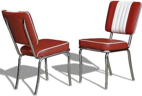 Bel Air Küchenstuhl 2-er Set Esszimmerstuhl Dinerstuhl Bürostühle 50er Jahre Stuhl Diner Stühle (Ruby/White)