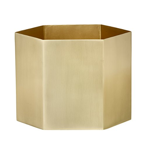 Ferm Living Hexagon Blumenkasten, Metall, Gold, 18cm