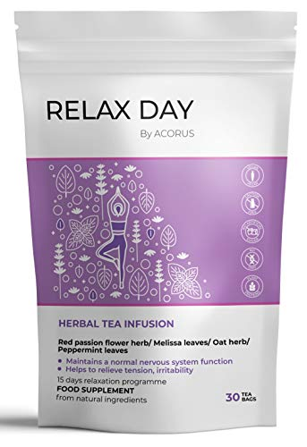 ACORUS Relax Day Kräutertee ● 15 Tage Tee Programm ● 100% natürlicher Tagesentspannungstee mit Lavendel, Melisse und Haferkraut (2g x 30)
