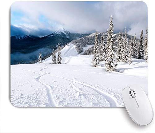 Dekoratives Gaming-Mauspad,Frisches Pulver Snowboard Tracks,Bürocomputer-Mausmatte mit rutschfester Gummibasis