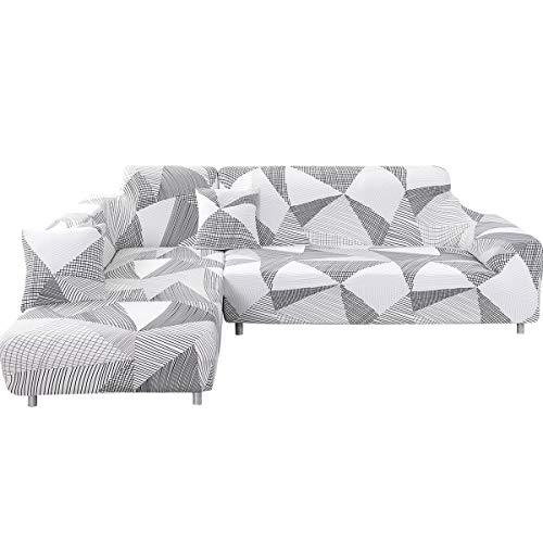 ele ELEOPTION - Funda de sofá elástica, Conjunto de 2 Fundas, para sofá de 3 Personas en Forma de L, Incluye 2 Fundas de cojín, Blanco Geométrico