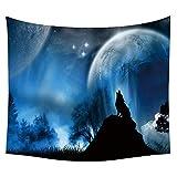 #Wandteppich #Wolf #heulender-Wolf #Mond #blau-schwarz 130x150 oder 150x200cm