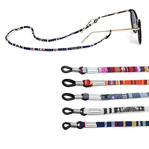 Rpanle Cadena de Gafas, 5 Piezas Retenedor Estampado Étnico de Gafas Cadena de Anteojos Ajustable para Hombres Mujeres (Multicolor)