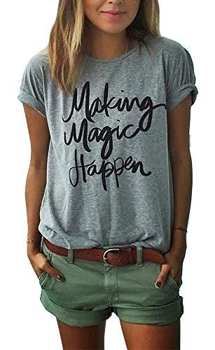 ZAWAPEMIA Making Magic Happen Shirt Women Short Sleeve Cute Funny Vacation Tee TShirt S Gray