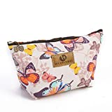 Soochat Butterfly Pattern Printed Cosmetic Bag Wash Bag Waterproof Storage Bag Coin Purse Travel Cosmetic Case