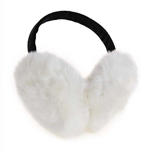 ChikaMika Earmuffs for Women Kids Large Super Warm Over Ear muffs Foldable White Ear Warmers
