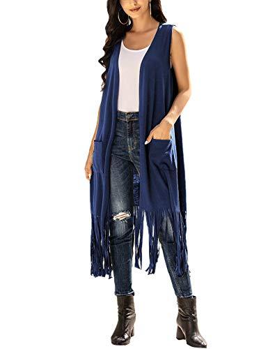 UNibelle Chaqueta de punto con flecos para mujer, larga, sin mangas, para exterior, fina, con bolsillo lateral, S-XXL 01_azul marino L