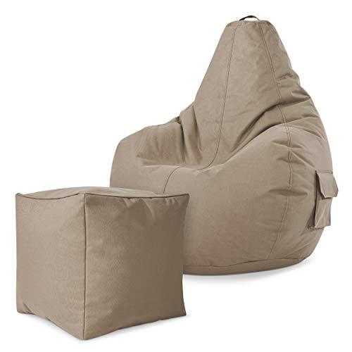 Green Bean Gaming © 2er Sitszack Set - Cozy Sitzsack mit 2 Seitentaschen + Cube Hocker - fertig befüllt - robust, waschbar, schmutzabweisend, wasserfest - für Kinder und Erwachsene - Hellgrau