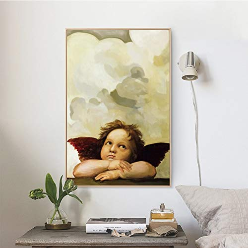 JFHSJ Poster Modern Portrait Cherub Posters and Prints Wall Art Canvas Painting Wall Decor Lovely Angel Pictures for Bedroomless - Best Gift for Halloween Christmas 40 * 60cm