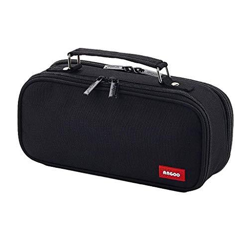 #N/a Bolsa para lápices de lona de doble capa de gran capacidad, bolsa para lápices Portable, bolsa para lápices, suministros de oficina, bolsa de - Negro