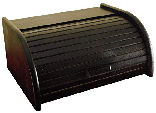 Panera de madera con puerta enrollable para guardar panes, tamaño pequeño, color negro, madera, negro, Large