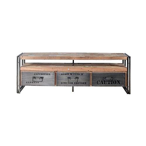 Meuble TV en bois 3 tiroirs - INDUSTRY - L 160 x l 40 x H 55