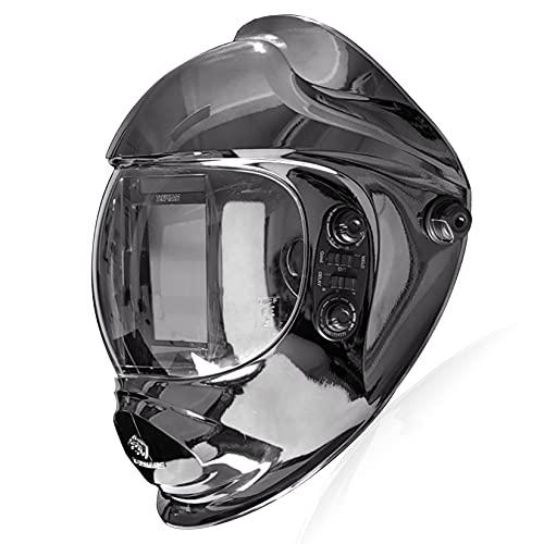 TEKWARE 特大自動遮光液晶溶接面 自動感光式溶接マスク ソーラー充電式溶接マスク/溶接ヘルメット 調整可能なシャドー範囲4/5-9/9-13 遮光速度1/10000秒 自動暗くするフード付き (KNIGHT)